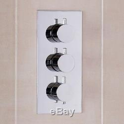 ENKI Concealed Thermostatic Shower Valve Mixer Tap Round 3 Dial 3 Way