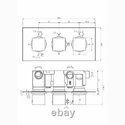 ENKI TSV017 Concealed Thermostatic Shower Valve Mixer Tap Square 3 Dial 3 Way