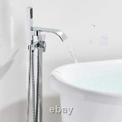 Floor Mounted Chrome Free Standing Bathtub Faucet Mixer Tub Filler with Handheld