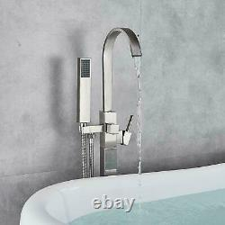 Floor Mounted Waterfall Bath Taps Freestanding Tub Filler Taps with Hand Shower