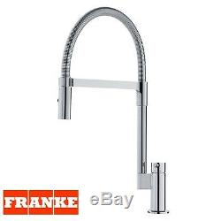 Franke Manhattan Chrome Finish Mixer Tap Spring Single Lever Pull Out Spray