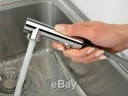 Franke Sirius Side Single Lever Kitchen Sink Mixer Tap Pull-out Chrome Stonegrey