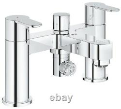 Grohe Bauedge Deck Mounted Bath Shower Mixer 2 Lever Handles 25217 000 rrp £200+