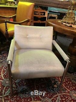 Harvey Probber Chrome Frame Lounge Chairs Aqua Sheen Luxury Mohair Mid Century
