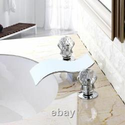Homary Modern Widespread 2 Crystal Handle Waterfall Spout Bathroom Sink Faucet