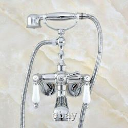 Kingston Brass 3-3/8 Tub Mount Clawfoot Tub Faucet With Hose & Spray Chrome