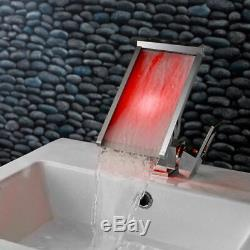 LED Color Changing Waterfall Wide Spout Sink Faucet Slanted Bathroom Tap 1 Hole