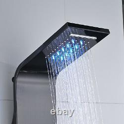 LED Shower Panel Tower Massage Body Jets System Rain&Waterfall Stainless Steel