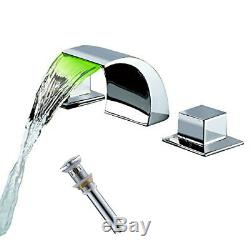 LED Waterfall Spout Bathroom Basin Faucet Widespread Sink 3 Holes Mixer Tap