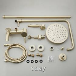 Luxury Brushed Gold Rain Shower Faucet System 3-Way Mixer Valve Hand Spray Taps