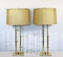 Mid Century Modern Laurel Pair of Brass Chrome Table Lamps Original Shade Finial