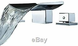 Modern 3 Hole Widespread Waterfall Vessel Bathroom Sink Faucet Chrome Finished