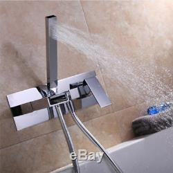 Modern Bathroom Roman Bathtub Wall Mount Tub Filler Faucet with Hand Shower Set