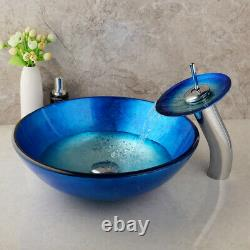 Modern Blue Bathroom Round Vessel Sink Basin Tempered Glass Bowl WithChrome Faucet
