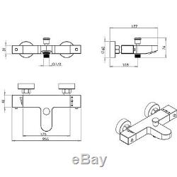 Modern Deck/Wall Mounted Square Thermostatic Bath Shower Mixer Tap With Rail Kit