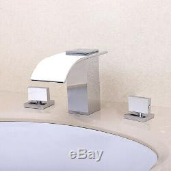 Modern Polished Chrome 3-Hole Widespread Bathroom Sink Faucet Waterfall Spout
