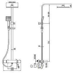 Modern Square Thermostatic Rigid Riser Shower Mixer Dual Bar Valve Cool Touch