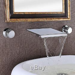 Modern Waterfall Spout Filler Double Handle Square Wall-Mounted Bathroom Faucet