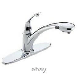 New Delta 470-promo-dst Single Handle Kitchen Faucet Chrome Pull Out Spray