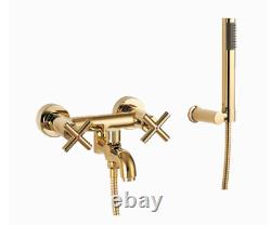 Omnires Modern Bath Mixer Tap Monoblock Gold With Shower Head And Shower Hose