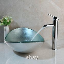 Oval Tempered Glass Bathroom Vessel Sink Bowl Chrome Mixer Tap Faucet Set