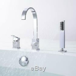Polished Chrome 3-Hole Deck Mounted Roman Tub Waterfall Faucet with Hand Shower