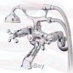 Polished Chrome Tub Faucet Wall Mount With HandShower Kingston Brass KS266C