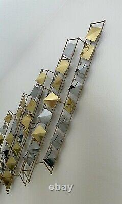RARE Curtis Jere Kinetic Abstract Wall Sculpture Chrome Brass Mid Century Modern