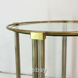 Round Bar Cart Trolley Side Table Brass Chrome Glass Vintage Midcentury coffee