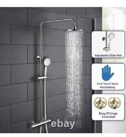 SP Exposed Twin Head Mixer Shower Thermostatic Bar with Riser Rail Boston