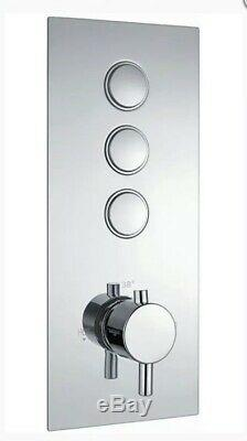 Scudo Triple Round Concealed Thermostatic Chrome Shower Valve CONCEALED013