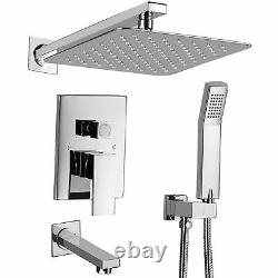 Shower Faucet Set Valve with Tub Spout and 10 Rainfall Shower Head Wall Mounted