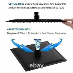 Shower Faucet System Thermostatic 8Rainfall Shower Head Combo Ceil Mount Black