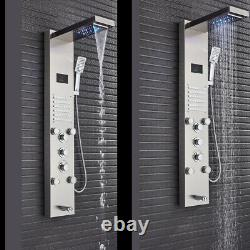 Shower Panel Tower System Brushed Nickel LED Rainfall Massage Jets Bodys Tap