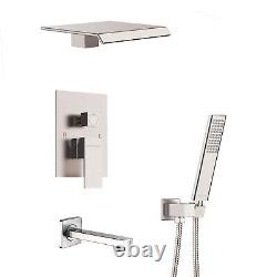 Shower System with Waterfall Tub Spout Shower Faucet Set Waterfall Spout Mixer