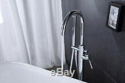 Solid Floor Mounted Tub Filler Faucet Free Standing Bath Shower Mixer tap