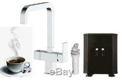 Square 3 in 1 Instant Boiling Water Hot/Cold Water Kitchen Tap, Filter & Tank
