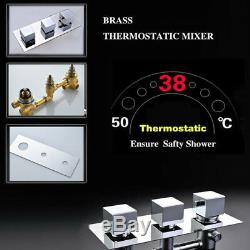 Thermostaic Shower Faucet Combo System 16 Inch LED Rain With Massage Bodys Jets