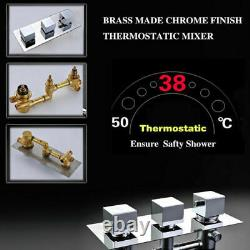 Thermostatic 10-inch LED Wall Mount Rain Shower Faucet 6 Massage Jets Mixer Tap