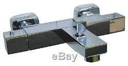 Thermostatic Bath Shower Mixer Taps, Square Style, Wall Mounted, 1/4 Turn, 057sq