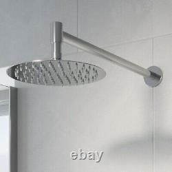 Thermostatic Concealed Valve Round Shower Wall Mounted Handset Body Jets Chrome