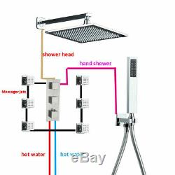 Thermostatic Shower Faucet Set 12 inch LED Rain Massage Body Jet Sprayer Chrome