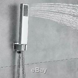 Thermostatic Shower Faucet Set Waterfall&Rain Massage Body Jet Sprayer Chrome