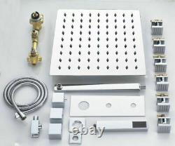 Thermostatic Shower Faucet system LED Rainfall Shower Head Combo Massage Mix Set