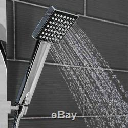 Thermostatic Shower Mixer Square Chrome Bathroom Exposed Twin Head Valve Set