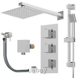 Thermostatic Square Concealed Shower Head Wall Mounted Adjustable Riser Handset