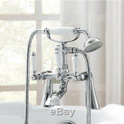 Traditional Lever Handle Chrome Bath Shower Mixer Tap Deck Mounted Straight Legs