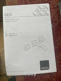 Vado Geo 3 Hole Basin Mixer With 220Mm Spout Wall Mounted Geo-109/2 Retail £525