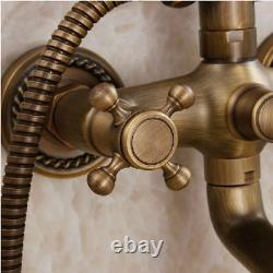 Wall Mount Antique Brass Vintage Shower Head Hand Shower Set Tub Mixer Faucet