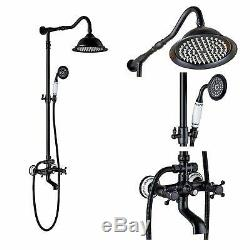 Wall Mount Bathroom Faucet Shower Mixer Tub Oil Rubbed Bronze Dual Cross Handle